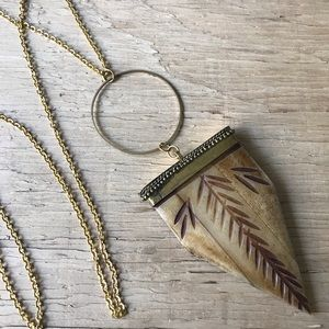 Large Carved Bone Necklace Long Chain
